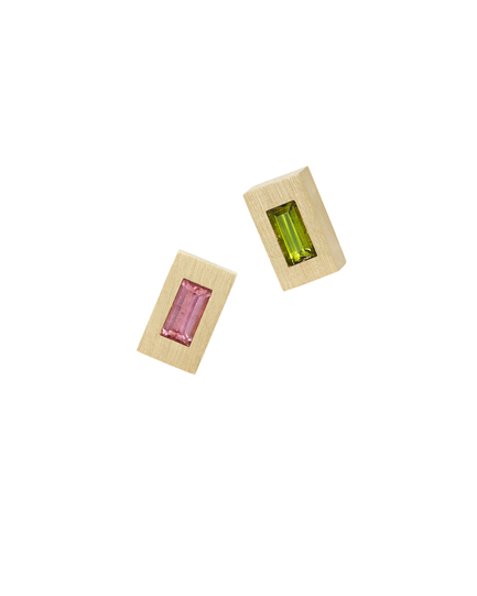 Tribe Tetris Ear Studs featuring Pink and Green Tourmaline