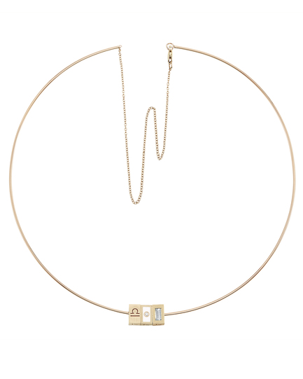 Tribe Wire Choker with Libra, Diamond White Enamel and Diamond Beads