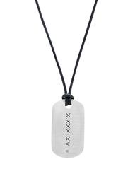 Diamond Roman Numeral Tag on Black Leather Cord