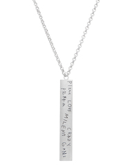 Men's Graffiti Necklace in Sterling Silver featuring handwritten words a nephew uses to describe his uncle
