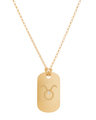 """Taurus"" Diamond Tag in 18k Yellow Gold Vermeil"
