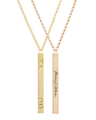 Custom Vertical Graffiti Necklaces in Yellow and Rose Gold Vermeil