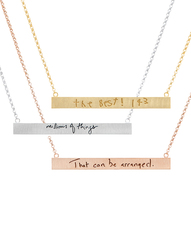 Large Graffiti Bar Necklaces featuring Messages from Loved Ones of all Ages!