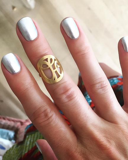"Signature Monogram ""OH"" Ring in 18k Yellow Gold Vermeil"