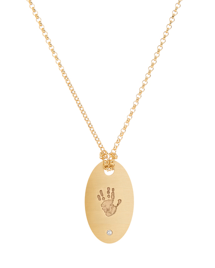 Oval Diamond Tag featuring a Custom Handprint