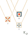 Code Flag Necklaces in V, W, X