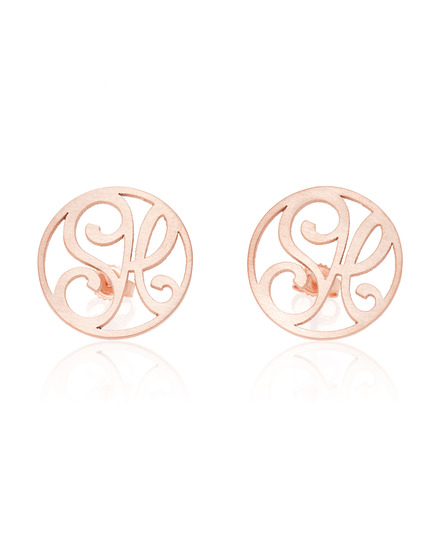 """SH"" Signature Monogram Ear Studs in Rose Gold Vermeil"