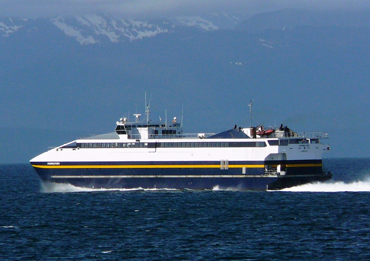 The fast ferry Fairweather sails Chatham Strait. (Photo by Ed Schoenfeld/CoastAlaska)