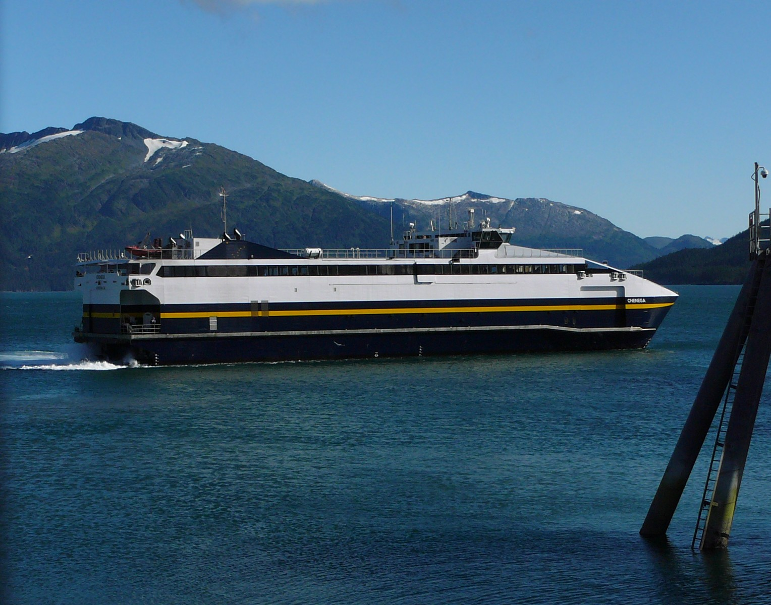 The fast ferry Chenega pulling into Whittier. Photo by Ed Schoenfeld.