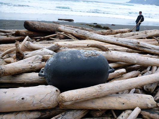 Large, black, oval floats like this one have not been observed in any of the prior NOAA marine debris surveys. Scientists found 27 of the black buoys on their recent survey of Southeast Alaska shorelines.