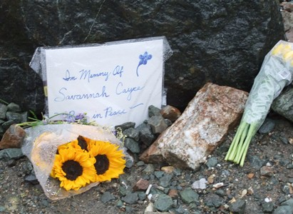 A memorial to Savannah Cayce at Auke lake boat launch. Photo by Rosemarie Alexander.