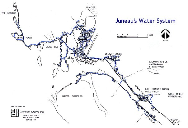 A map of the City of Juneau's water system.