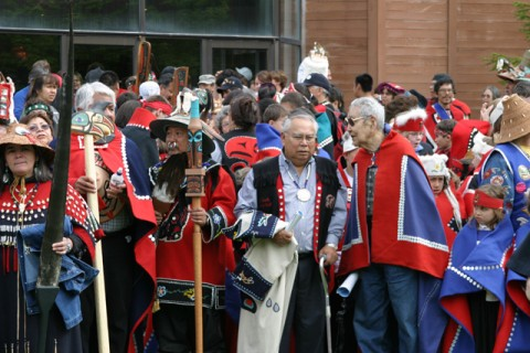 Dancers and leaders line up outside Juneau's Centenial Hall during Celebration 2006. Photo courtesy Ben Paul, Sealaska Heritage Institute.