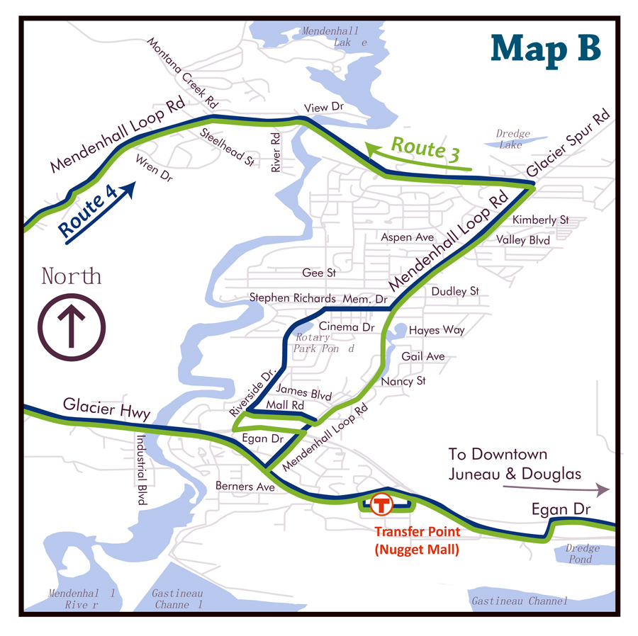 Map B represents a change to Route 4 that would provide service to a portion of Riverside Dr (between Stephen Richards Dr and Mendenhall Mall Rd) while eliminating southbound service from a 1.7-mile portion of Mendenhall Loop Rd (between Stephen Richards Dr and Mendenhall Mall Rd).