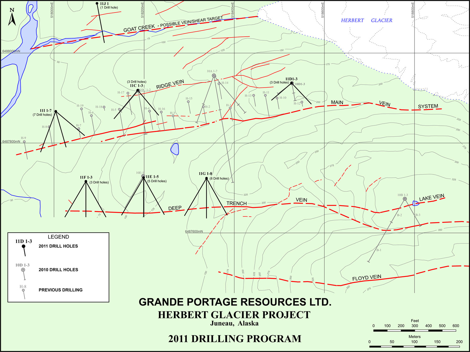 A map of previous drilling sites and potential future sites. Map courtesy of Grande Portage Resources Ltd.