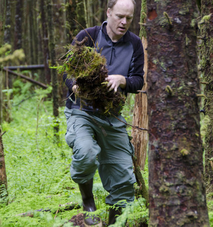 Volunteer John Hudson carries moss to the sides of the trail to re-vegetate muddy areas.