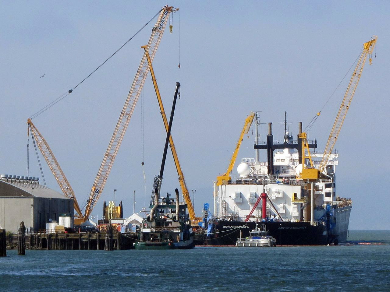 Shell Oil's Arctic Challenger oil-spill response rig is under construction at the Bellingham Shipping Terminal.