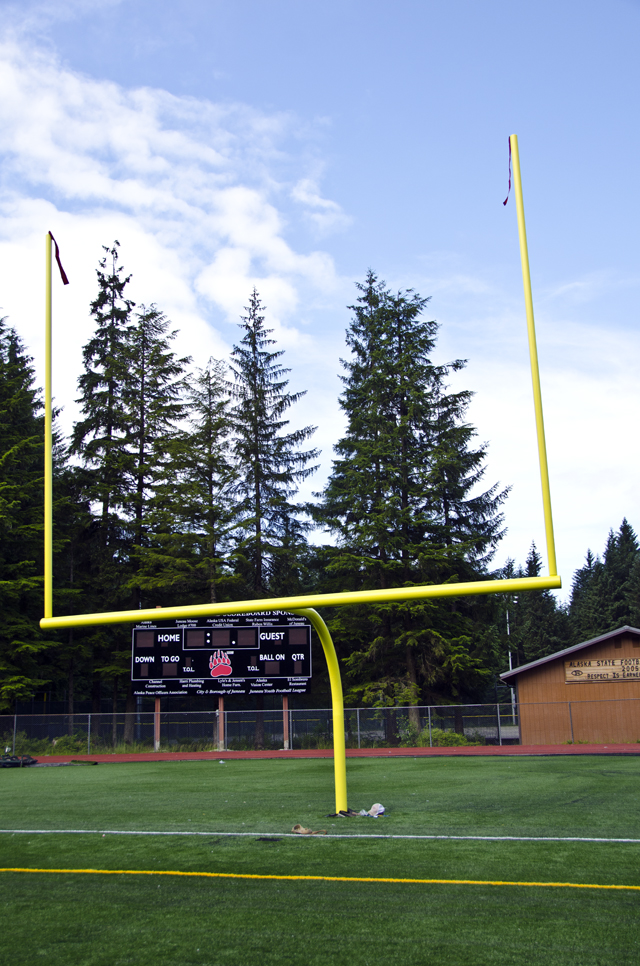 The goal posts went up Saturday at Adair Kennedy Memorial Field.