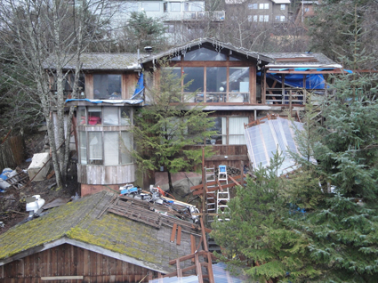 Elevated view looking over the street level garage at the condemned home at 3101 Nowell Avenue in West Juneau. Photo courtesy of Lin Davis.