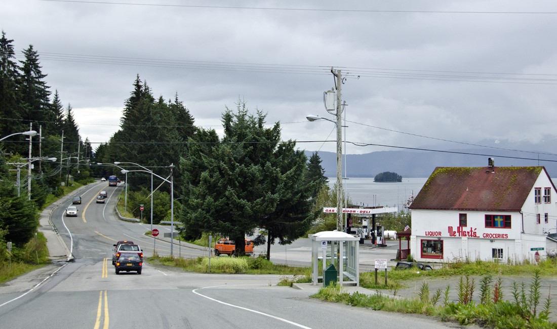 The intersection of Glacier Highway and Back Loop Road in front of De Hart's.