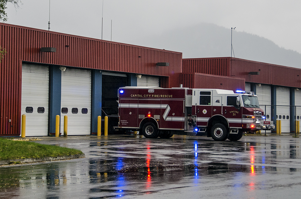 A fire truck returns to the Glacier Fire Station near the airport. (Photo by Heather Bryant/KTOO)