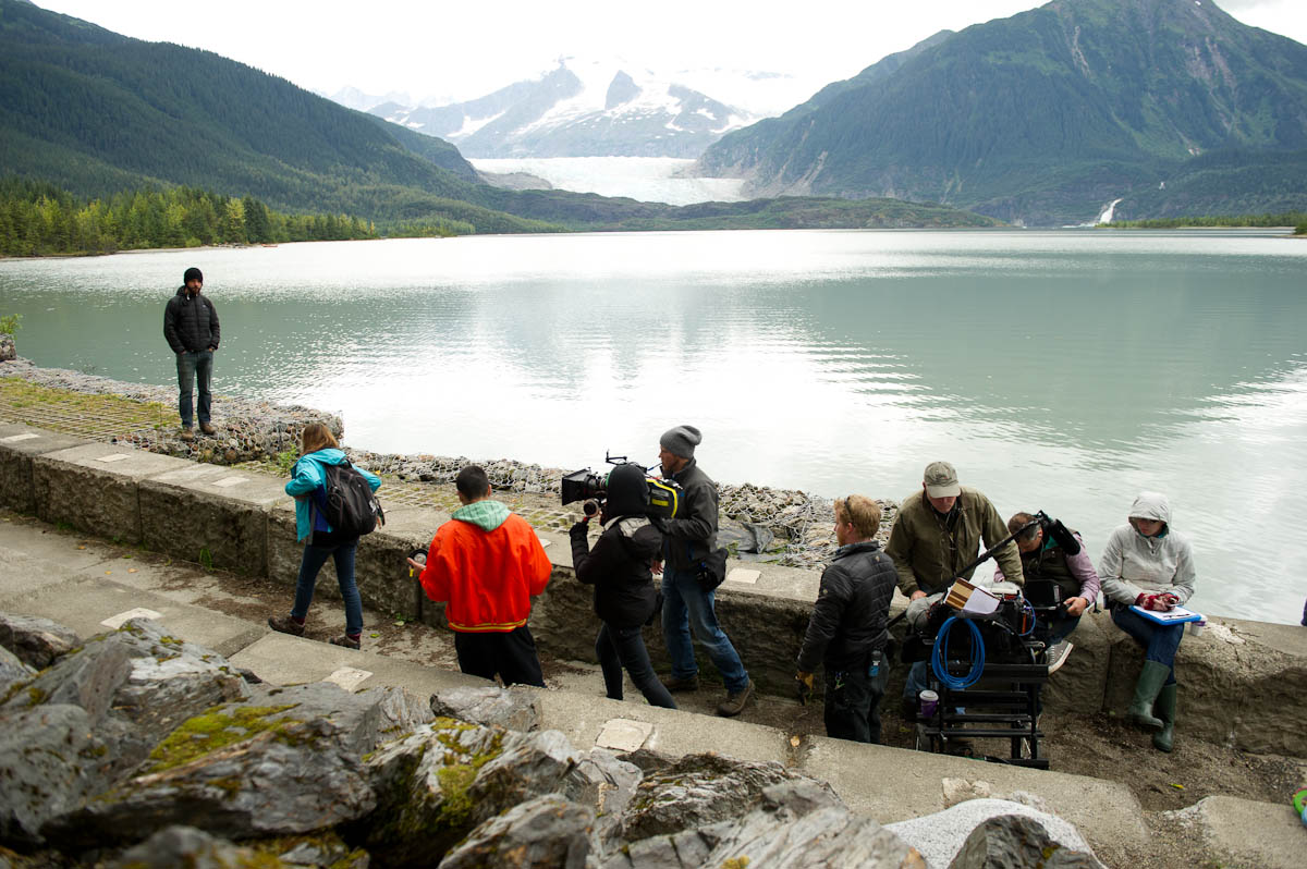 A scene set at Skater's Cabin on Mendenhall Lake. Production photo courtesy of Wildlike