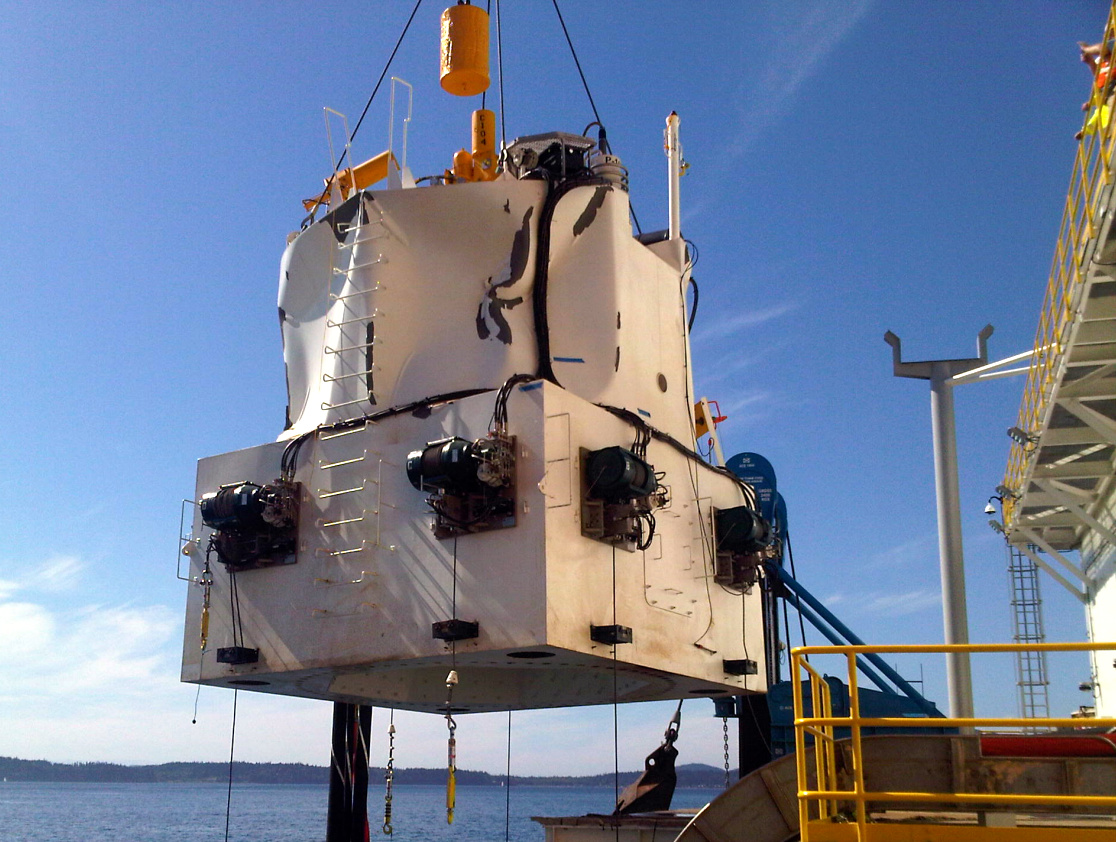 BSEE photo of damaged containment dome on board the Arctic Challenger in Sept. 2012