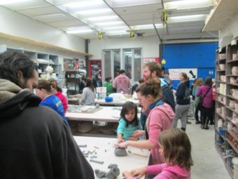 The crowd at the UAS Art Open House included students of all ages.