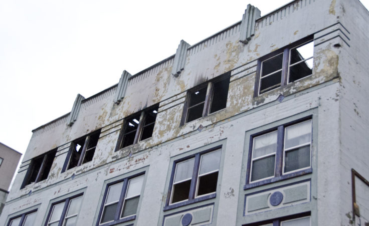 The majority of the fire damage was to the upper floors, however, every floor has significant water damage.