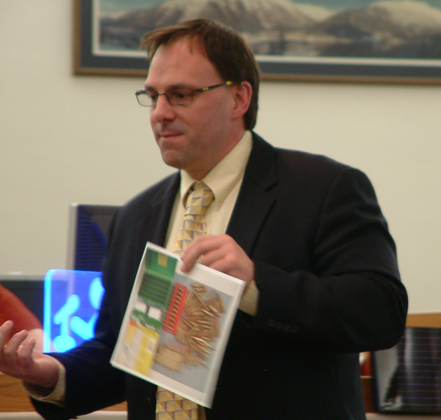 Public defender Eric Hedland uses a picture of seized evidence as part of his closing arguments to the jury on Thursday. Photo by Matt Miller/KTOO News