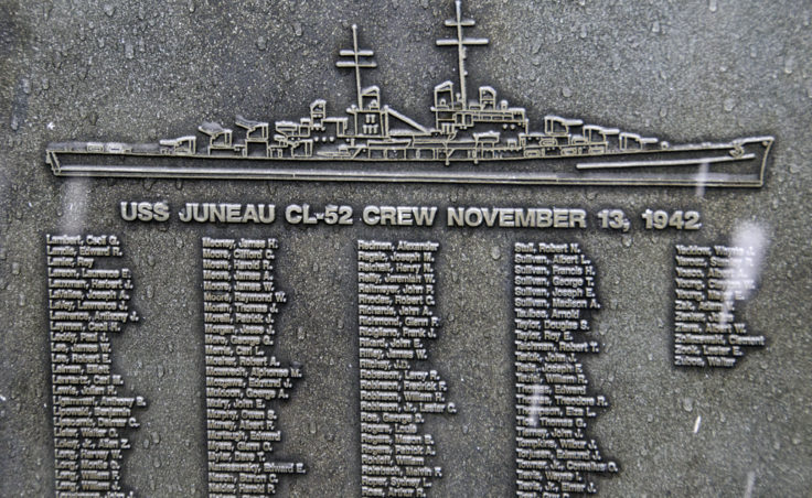 Names of the sailors lost when the USS Juneau sank are engraved on two plaques.