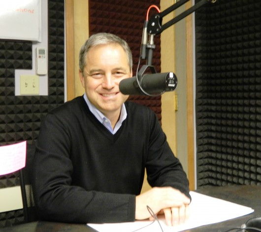 Gov. Sean Parnell discusses his plans for new state ferries during an interview at KRBD-FM in Ketchikan.