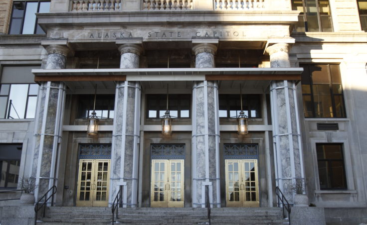 The portico of the Alaska State Capitol Building is in the process of remodeling to repair the portico which has experience weather and seismic damage over the years.
