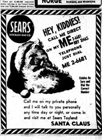 The Sear's ad from 1955 had a typo in the phone number that cause children to call the red phone in the command center of the Continental Air Defense Command.