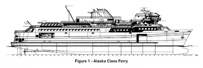 A drawing of the design for the larger Alaska Class Ferry, created by Eliott Bay Design of Seattle.