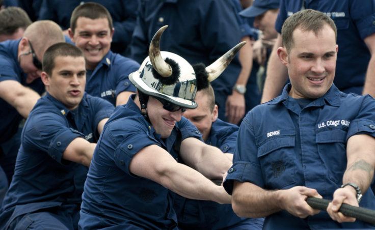 Ensign William Stark sported a viking helmet throughout the tug-of-war competition. The Olympics are part of the 2012 U.S. Coast Guard Buoy Tender Round-up.