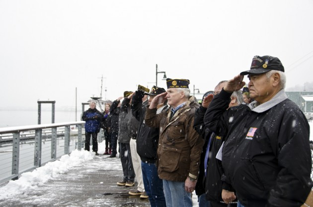 A new memorial was dedicated on the waterfront on Nov. 14 to commemorate those who lost their lives aboard the U.S.S. Juneau seventy years ago.