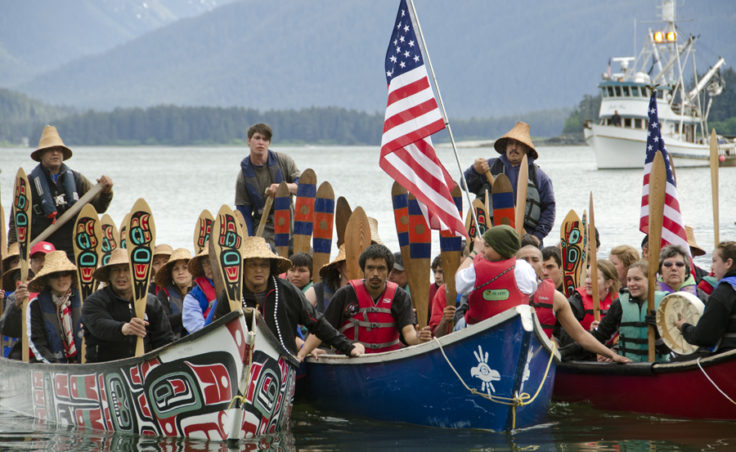 Several hundred people welcomed seven canoe teams Wednesday who paddled to Juneau for Celebration 2012. About 90 people made the trip and came from Angoon, Hoonah, Hydaburg, Juneau, Kake, Sitka, and Wrangell. They ranged in age from 10 to 70.