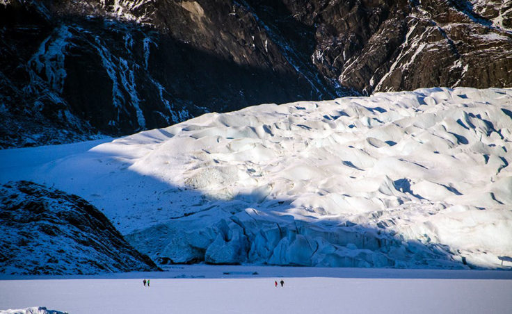 Two people fell through ice at the face of the Mendenhall Glacier on Christmas Day.