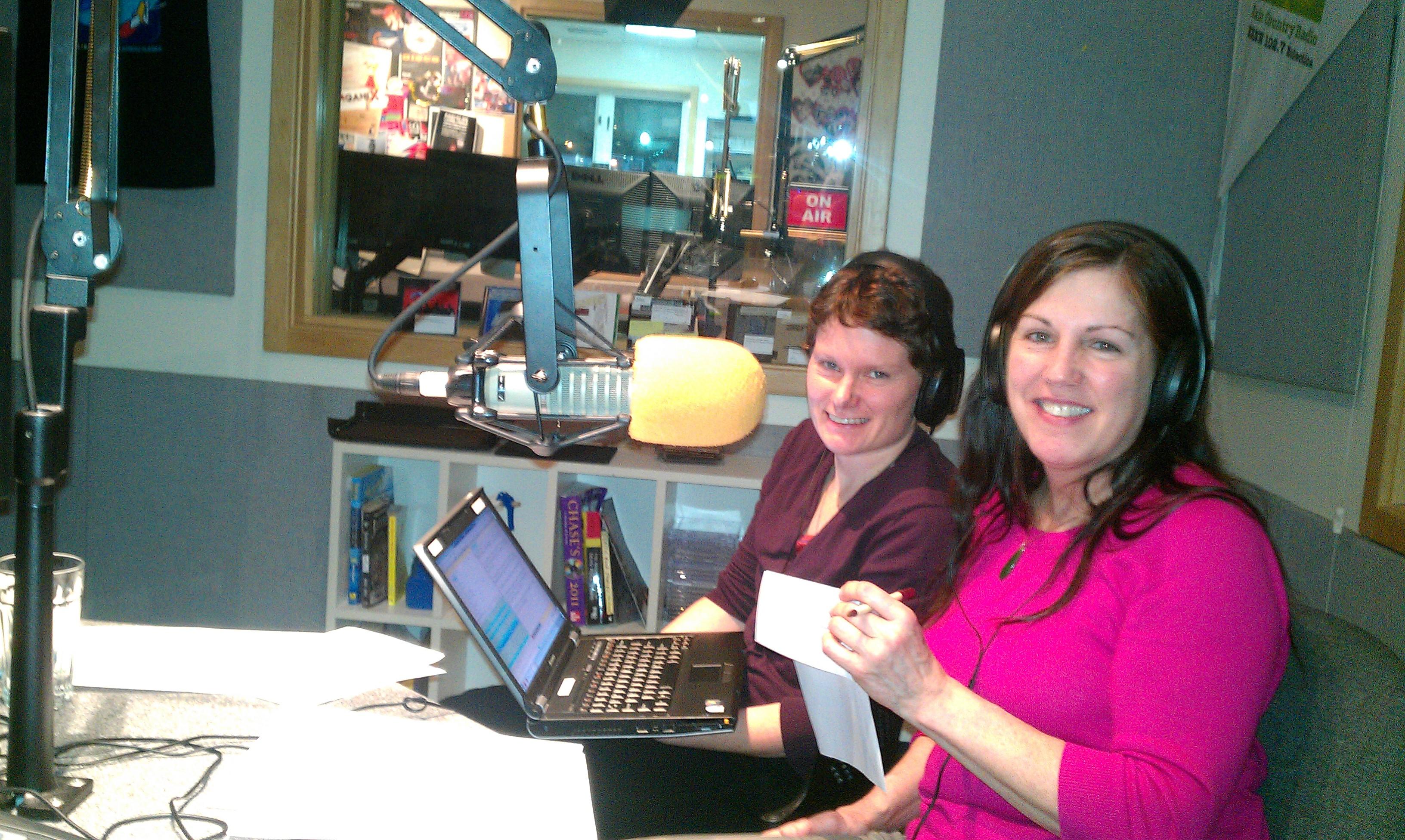 Lori and Annie in the studio.