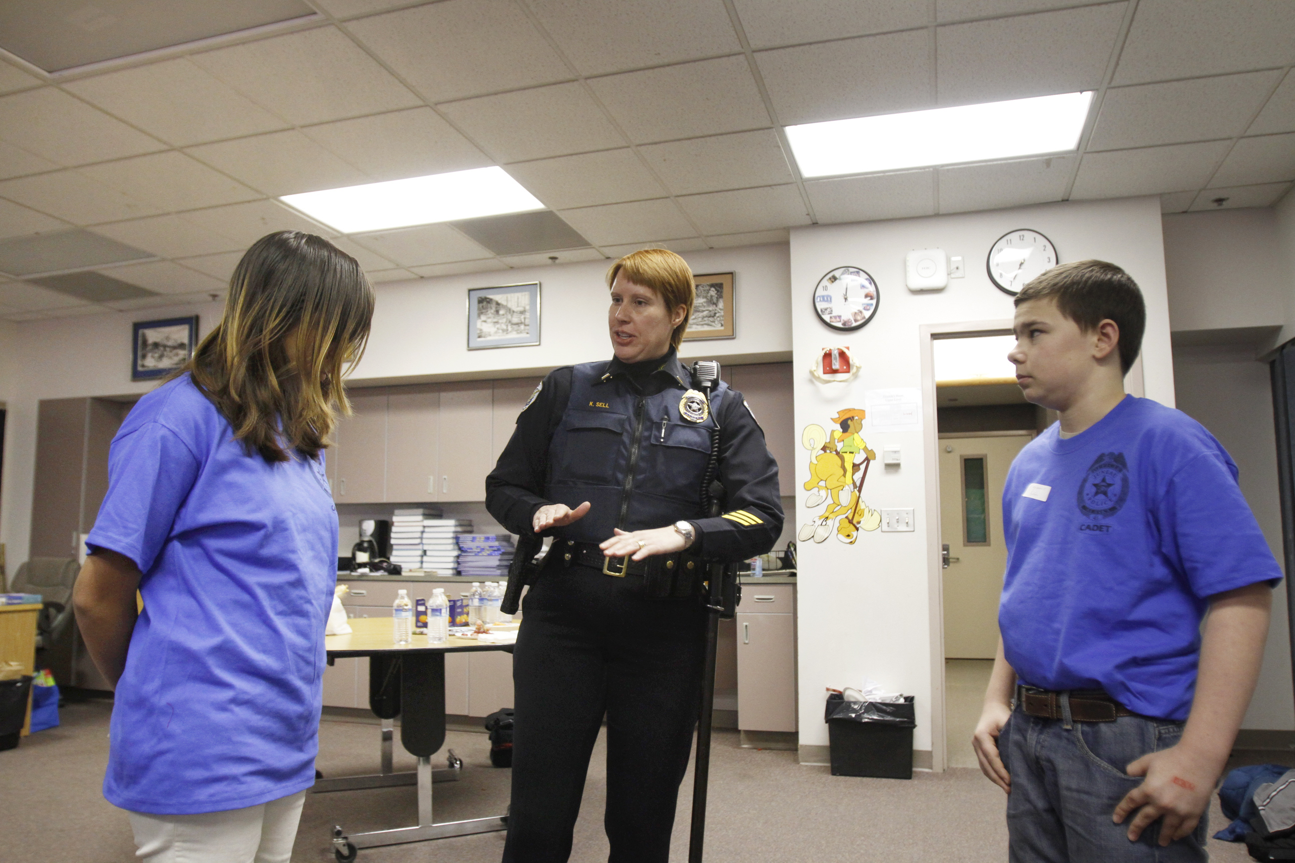 Dzantik'i Heeni Middle School students go through role playing exercises to learn the importance of integrity of police work during the after school Police Academy program.
