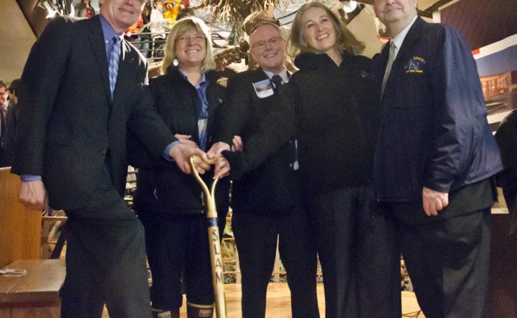 Lt. Gov. Mead Treadwell, Rep. Beth Kerttula, Sen. Dennis Egan, Rep. Cathy Munoz, Sen. Johnny Ellis pose with the groundbreaking shovel.