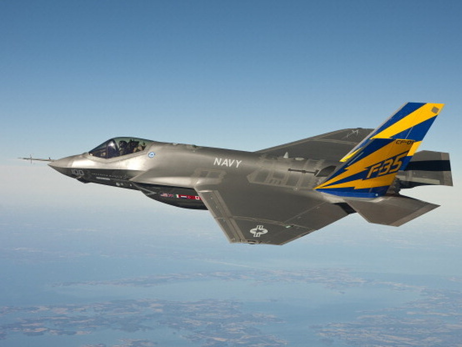 In this image released by the U.S. Navy the U.S. Navy variant of the F-35 Joint Strike Fighter, the F-35C, conducts a test flight over the Chesapeake Bay. U.S. Navy/Getty Images