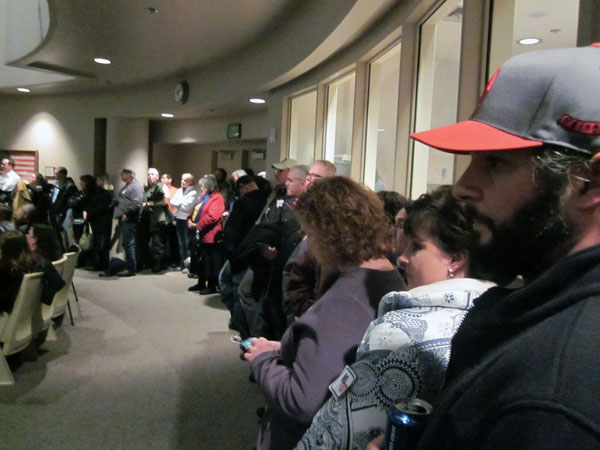 There was standing room only in the Assembly chambers, as hundreds showed up in response to the new ordinance introduced by Anchorage Mayor Dan Sullivan. Photo by Daysha Eaton, KSKA – Anchorage.