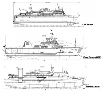 An early drawing compares the proposed Alaska Class Shuttle Ferry with other ships. Image courtesy Department of Transportation.