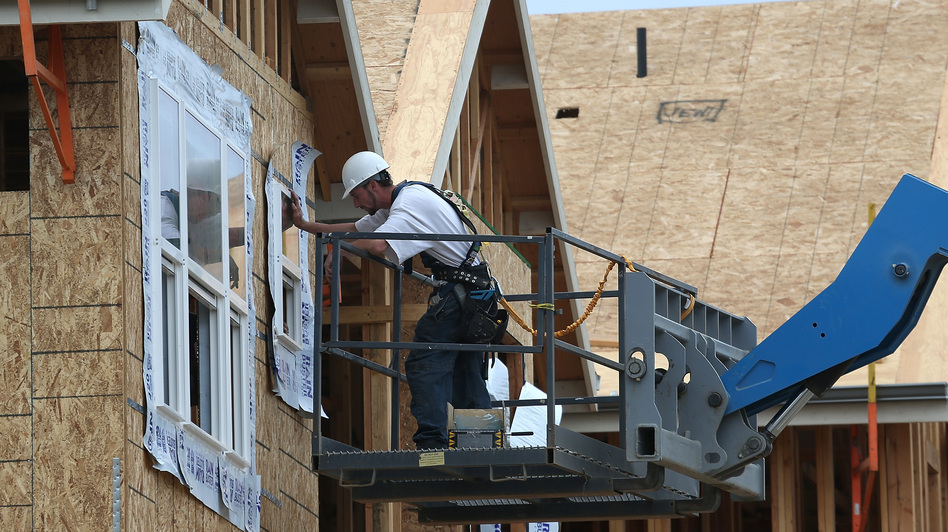 Going up: A construction worker at a housing development in San Mateo, Calif., in June 2012. Justin Sullivan/Getty Images