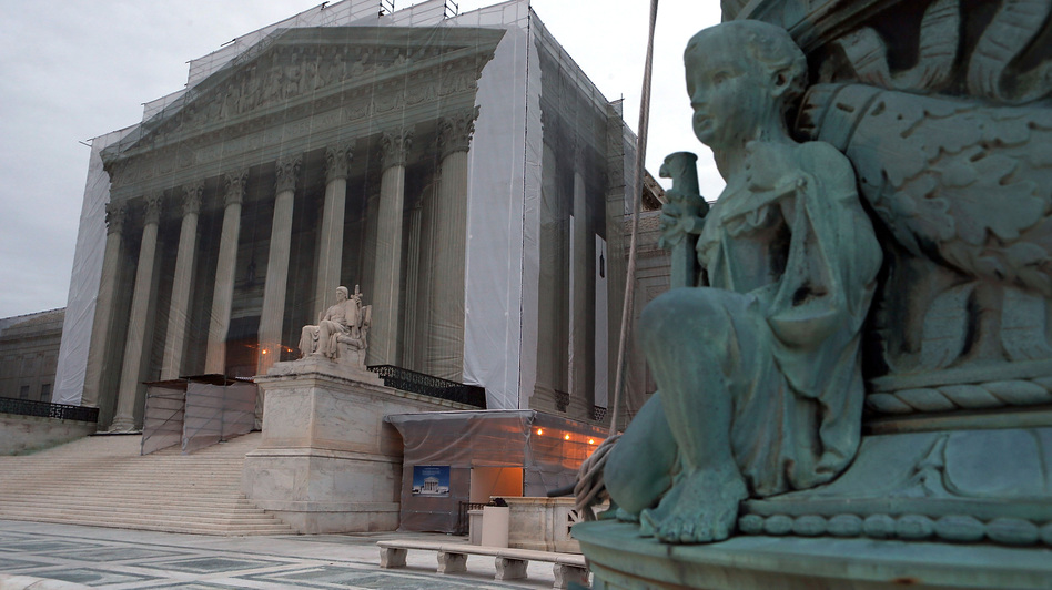 The Supreme Court denied the petition of businessmen who say the 2010 Citizens United ruling makes it legal for corporations to contribute directly to candidates. The court building is seen here during renovations in December. Alex Wong/Getty Images