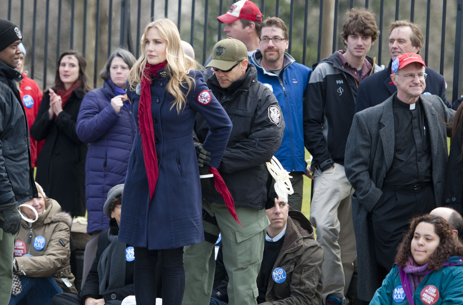 Daryl Hannah is handcuffed and arrested during the Keystone XL Pipeline Protest at Lafayette Park in Washington on Wednesday. (Leigh Vogel/Getty Images)