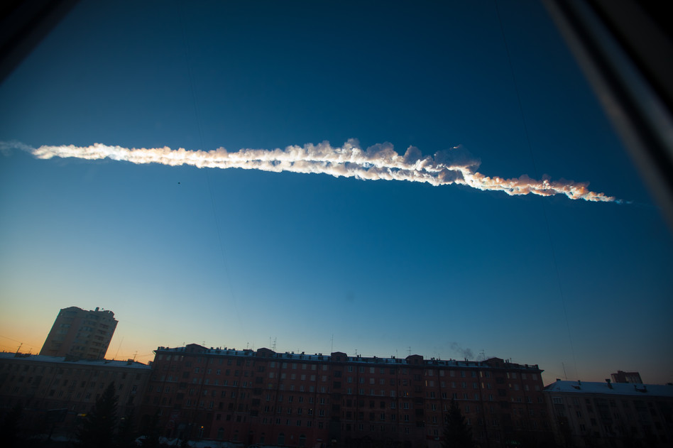 In this photo provided by Chelyabinsk.ru a meteorite contrail is seen over Chelyabinsk on Friday. Yekaterina Pustynnikova/AP