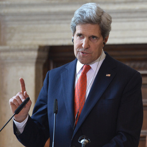 Secretary of State John Kerry during a news conference Thursday in Rome. Alberto Pizzoli/AFP/Getty Images